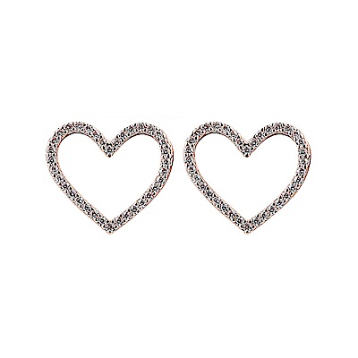 kate spade經典愛心設計鑽鑲飾穿式耳環(玫瑰金)