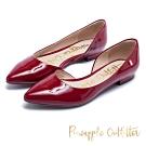 Pineapple Outfitter 簡約雅緻 質感牛皮側挖空尖頭高跟鞋-紅色