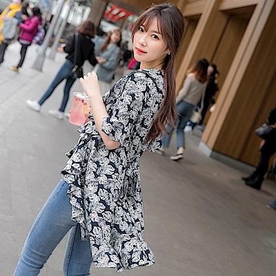 樹葉印花荷葉拼接開襟綁帶長版罩衫/外套-OB大尺碼