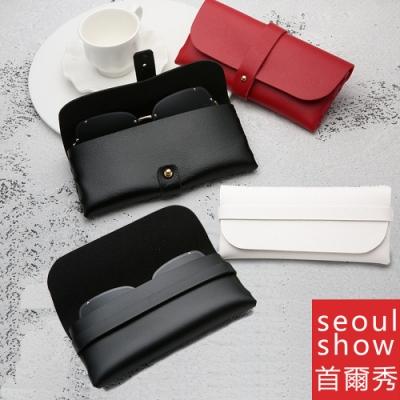 seoul show首爾秀  2款便攜式卡扣卡帶太陽眼鏡盒手工皮質眼鏡包