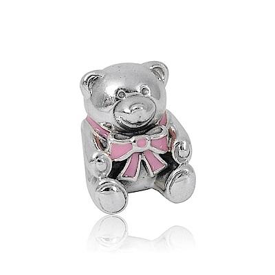 Pandora 潘朵拉 粉色緞帶小熊 純銀墜飾 串珠
