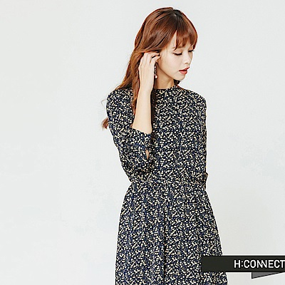 H:CONNECT 韓國品牌 女裝-小碎花腰間綁帶洋裝-藍