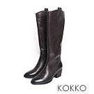 KOKKO - 高質感率性牛皮粗跟長靴-大地咖