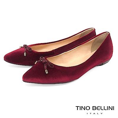 Tino Bellini巴西進口復古奢華絨布平底娃娃鞋_酒紅