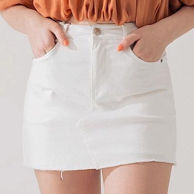 AIR SPACE 不收邊軟料顯瘦褲裙(米白)