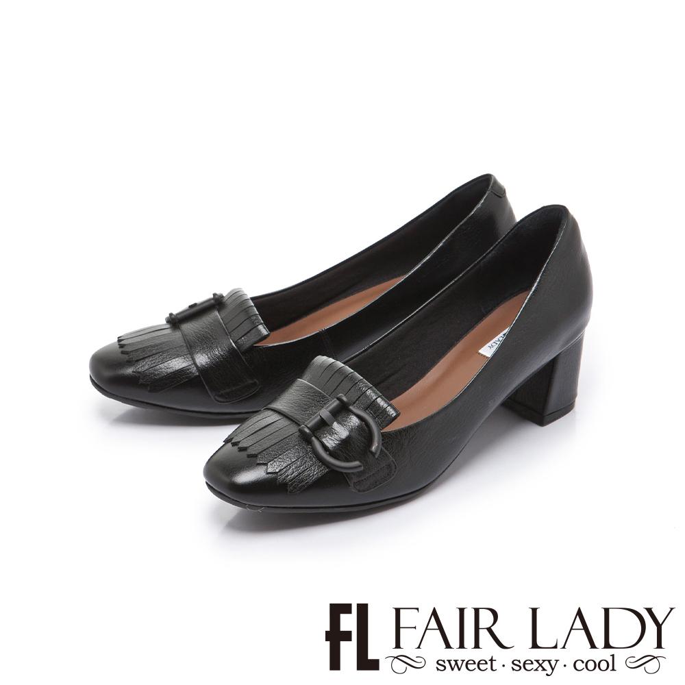 FAIR LADY 優雅小姐Miss Elegant 高雅時髦流蘇扣飾粗跟鞋 黑