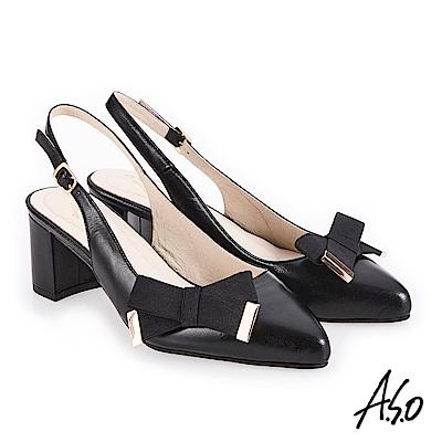 A.S.O 義式簡約 柔軟皮革甜美印象高跟鞋 黑