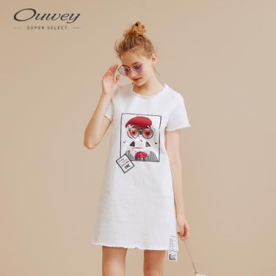 OUWEY歐薇 愛心娃娃女孩牛仔洋裝(白)