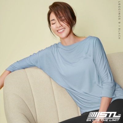 STL yoga Daily Modal Box T-Shirt 韓國瑜珈 運動機能 莫代爾7分袖素色上衣 霧霾粉藍