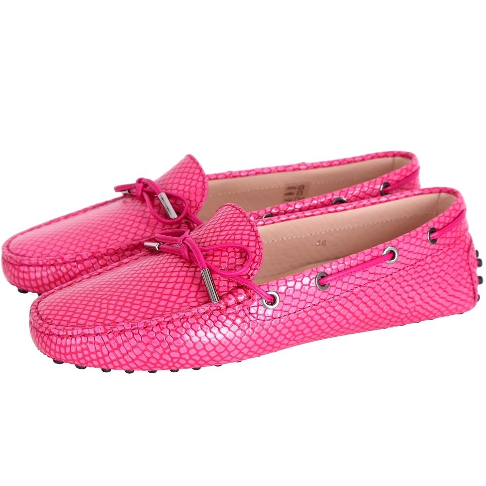 [時時樂限定]TOD'S Gommino 紋理印花綁帶豆豆鞋(桃紅色)