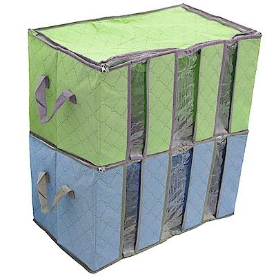 月陽60cm彩色竹炭3格衣物收納袋整理箱超值2入(C120LN2)