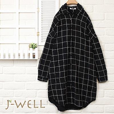 J-WELL黑色格紋長襯衫外套
