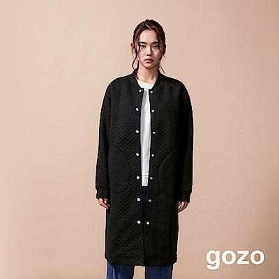 gozo 立體點點長版運動風夾克(黑色)