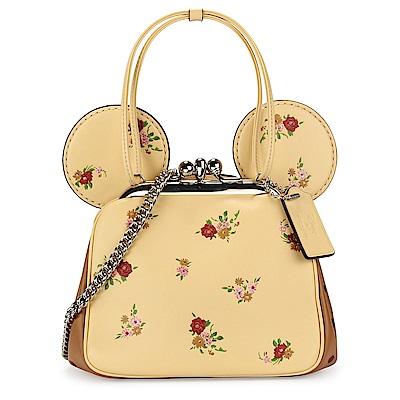 COACH MINNIE米妮耳朵造型蝴蝶結吊飾花花皮革珠扣手提/斜背兩用包-黃