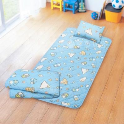 享夢城堡 兒童卡通涼被童枕睡墊三件組-角落小夥伴 冰原歷險-藍