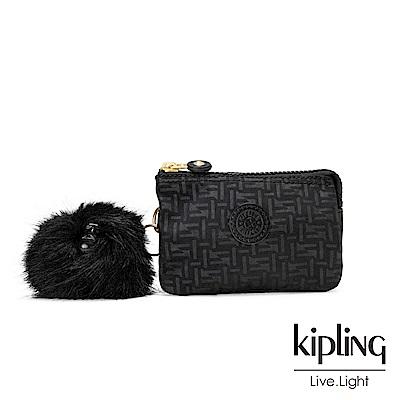 Kipling黑色幾何紋路三夾層配件包-CREATIVITY S