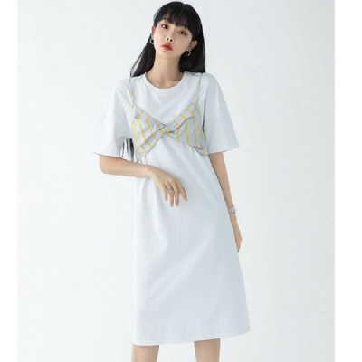 連身裙 假兩件條紋印花五分袖洋裝RU8072-創翊韓都