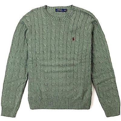 Polo Ralph Lauren 經典刺繡小馬圓領麻花針織毛衣-綠色