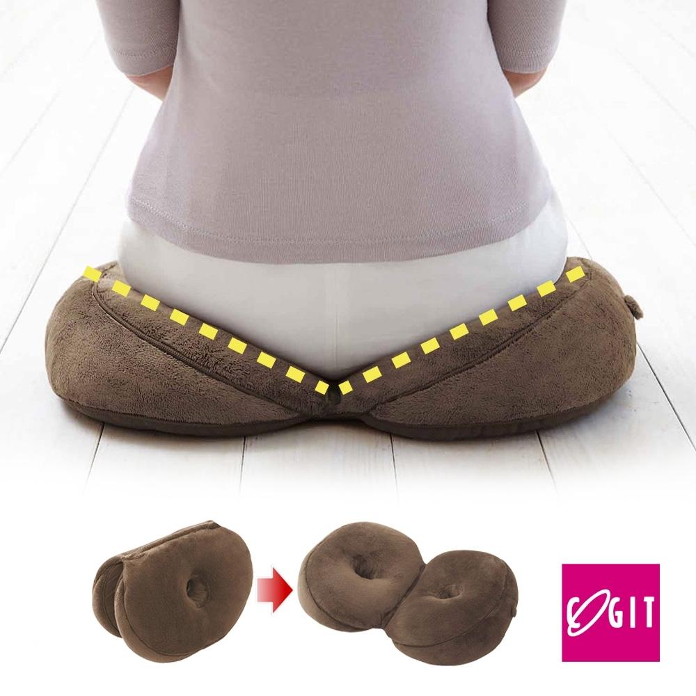 日本COGIT 貝果V型 美臀瑜珈美體坐墊 坐姿矯正美尻美臀墊-咖啡BROWN(多用款)
