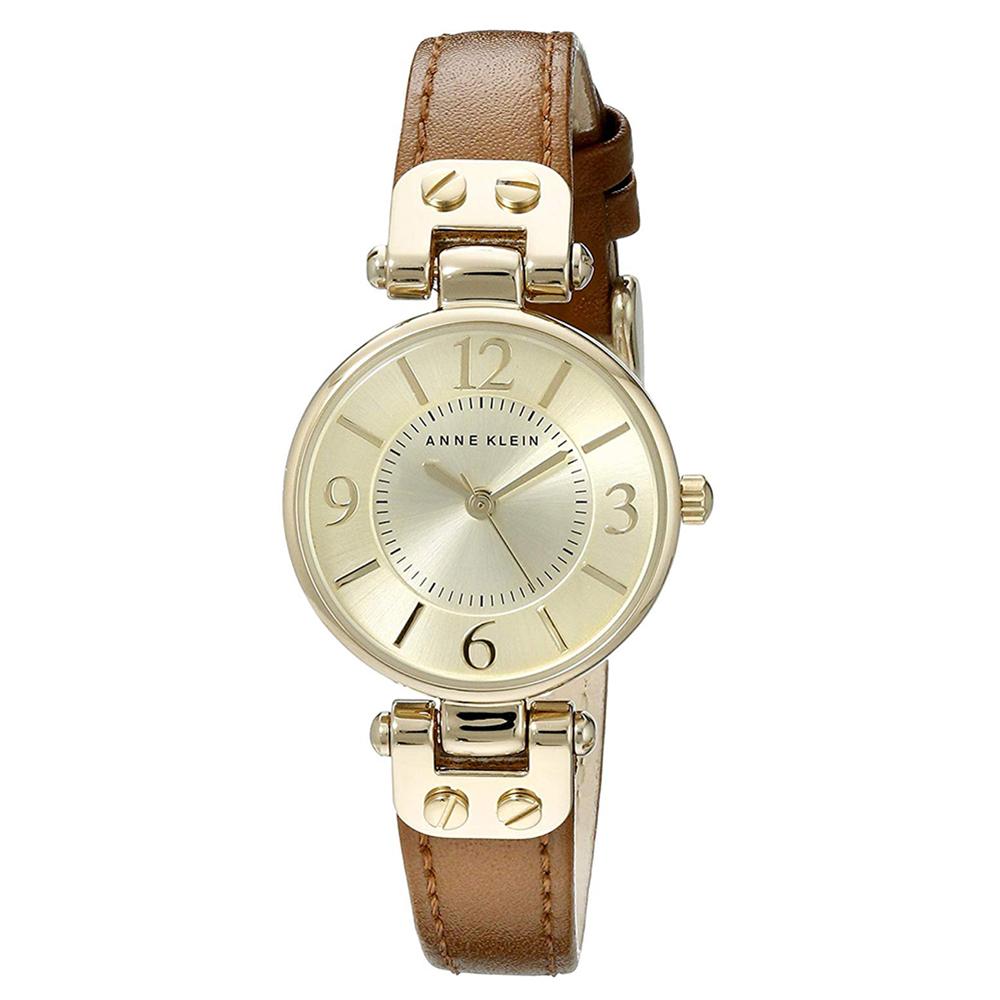 Anne Klein 漫步塞納河畔精緻小牛皮腕錶-香檳金x29mm AK-9442CHHY @ Y!購物