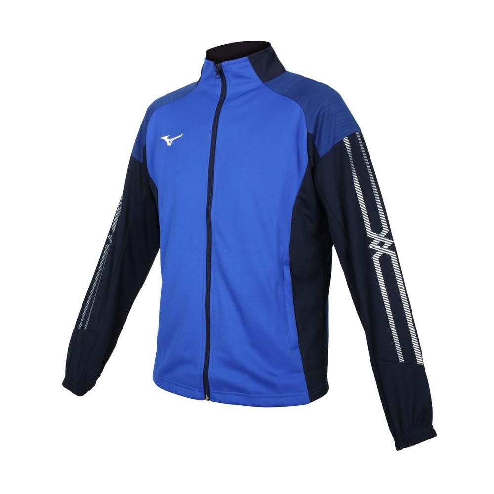 MIZUNO 男針織外套-立領外套 吸濕排汗 抗UV 慢跑 運動 美津濃 32TC153322 藍丈青白