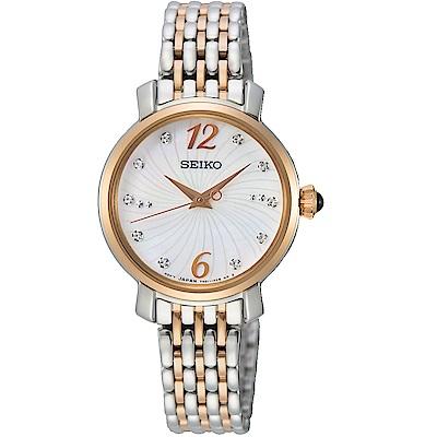 SEIKO精工璀璨綻放時尚碗錶(SRZ524P1)-玫瑰金