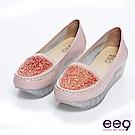ee9 個性水晶~金屬壓紋漆皮滿版錐鑽厚底休閒樂福鞋~透亮粉