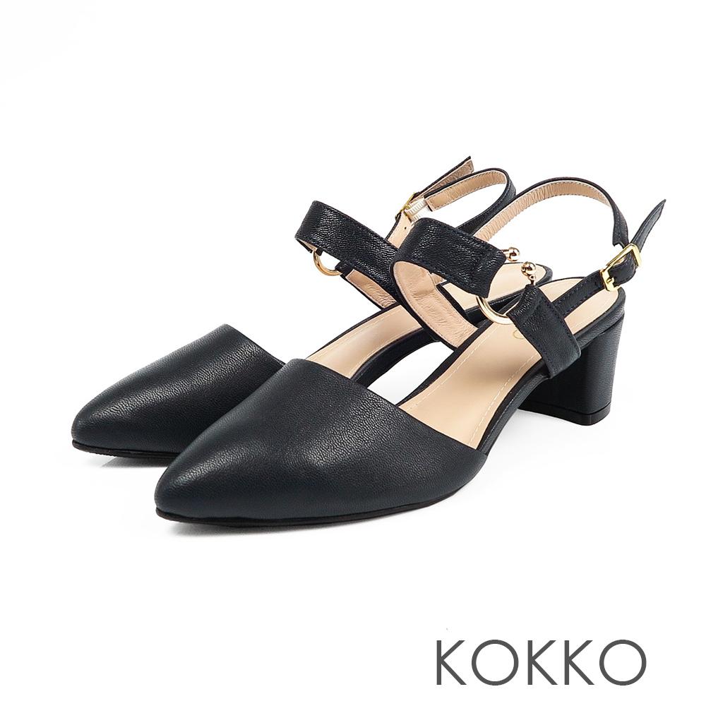 KOKKO - 法國香頌曲尖頭粗跟涼鞋-深邃藍