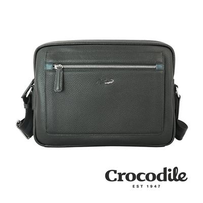 Crocodile 鱷魚皮件 Match 2.0系列 荔紋 橫式斜背包(M) 側背包-0104-09202-黑咖兩色