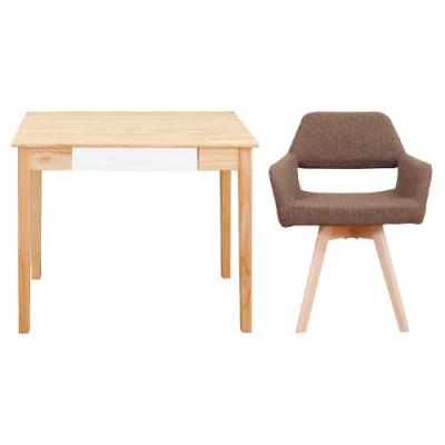 Bernice-簡約全實木書桌組合-原木雙色書桌+旋轉椅-四色-90x50x76cm