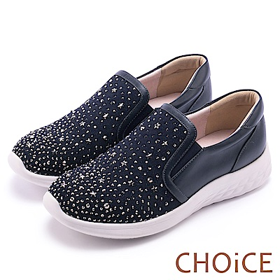 CHOiCE 華麗運動風 牛皮網布水鑽厚底休閒鞋-藍色