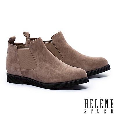 裸靴 HELENE SPARK 簡約率性純色羊麂皮低跟裸靴-咖