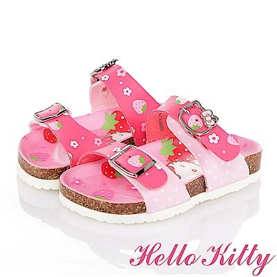 HelloKitty 草莓系列 輕量舒適防滑休閒拖鞋童鞋-桃