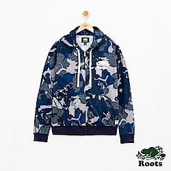 男裝Roots 迷彩蓮套外套-藍
