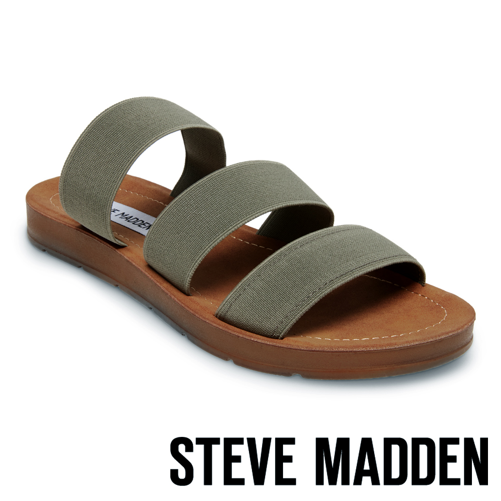 STEVE MADDEN-PASCALE 涼夏束帶平底涼鞋-墨綠