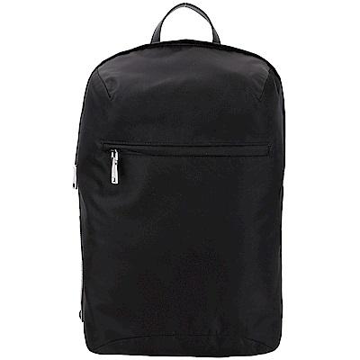 PRADA Tessuto 新款橡膠標籤尼龍後背包(黑色)
