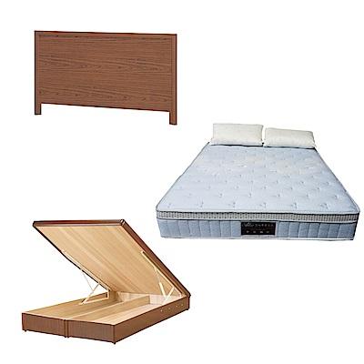 綠活居 梅可6尺雙人加大床台三式組合(床頭片+後掀床底+天絲獨立筒床墊)五色可選
