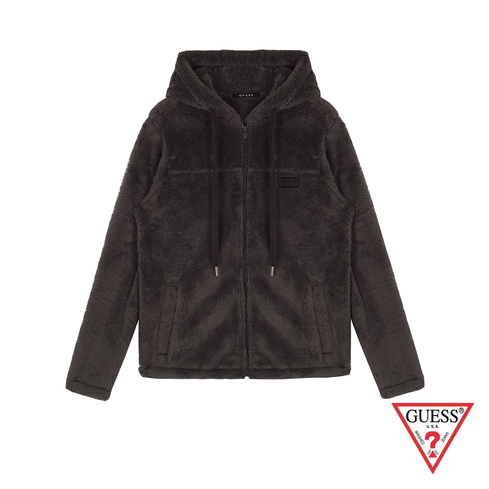 GUESS-女裝-舒適柔毛連帽外套-黑灰 product image 1