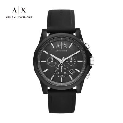 A│X ARMANI EXCHANGE OUTERBANKS 都市遊俠黑色矽膠男錶-44mm(AX1326)