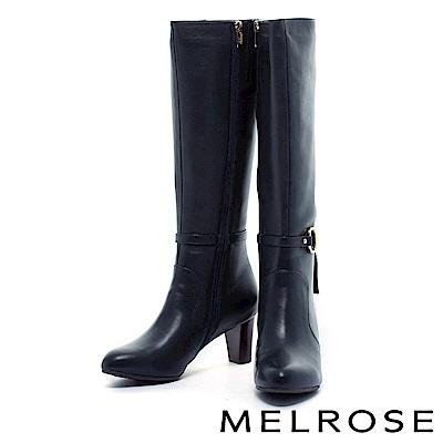 長靴 MELROSE 經典馬術鍊釦羊皮粗高跟長靴-藍