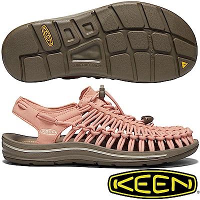 KEEN 1019937粉橘 Uneek 女專業戶外護趾編織涼鞋