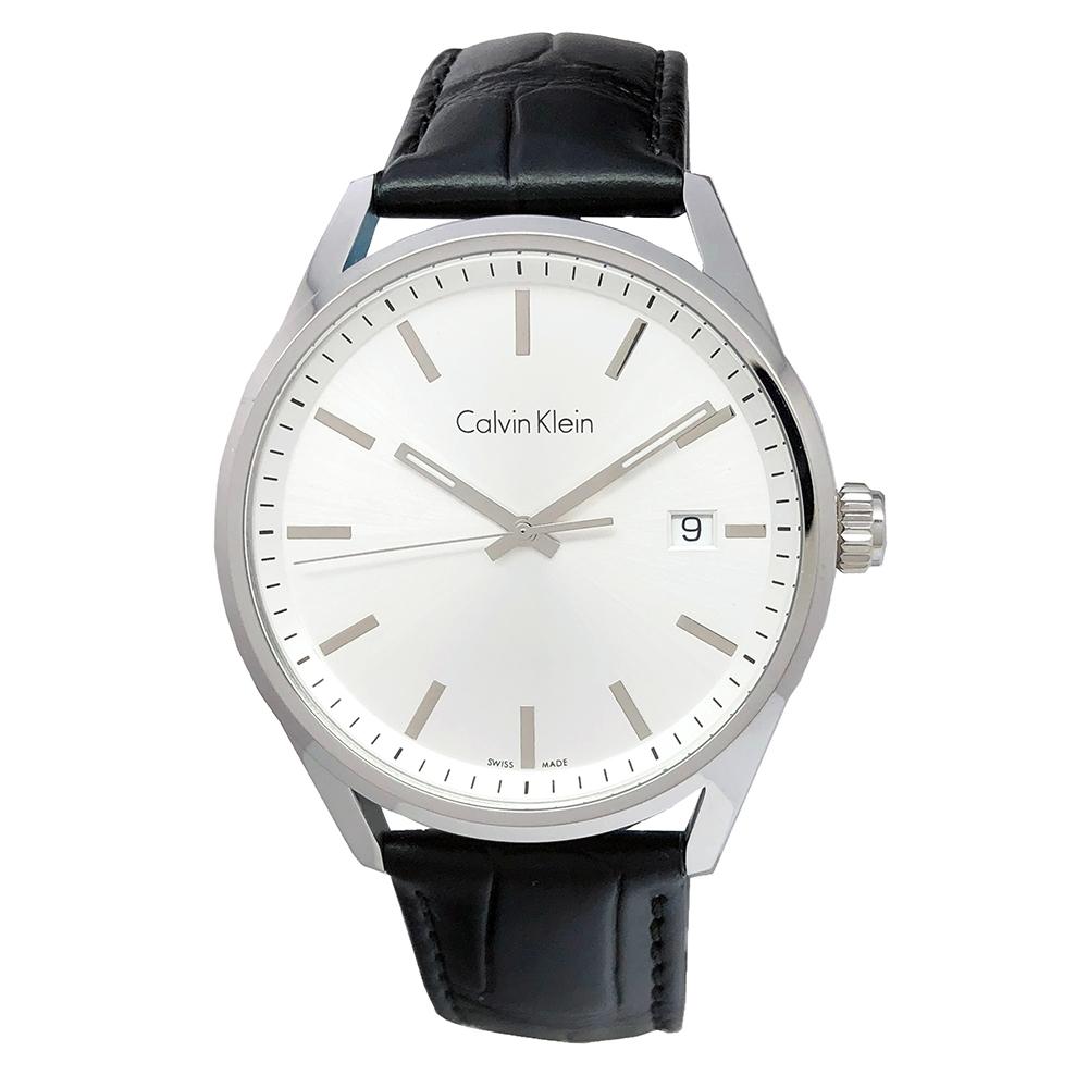 CK Calvin Klein Formality 風雅系列三針手錶(K4M211C3)-銀面X黑色/44mm
