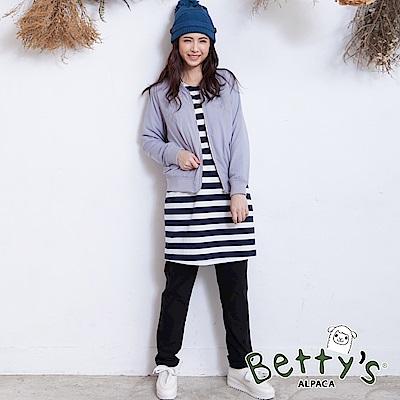 betty's貝蒂思 鬆緊刷毛彈性窄管褲(黑色)