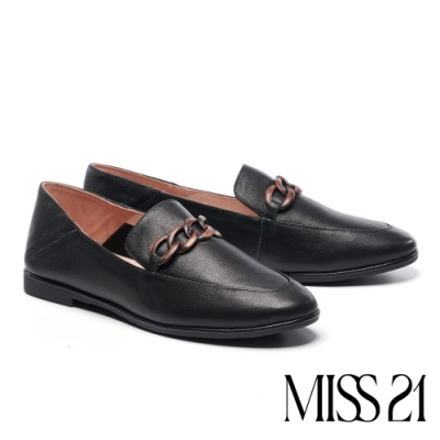 低跟鞋 MISS 21 藝文復古木紋飾釦全真皮樂福低跟鞋-黑