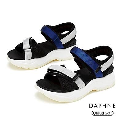 達芙妮DAPHNE 涼鞋-運動交叉織帶舒適撞色厚底涼鞋-淺灰