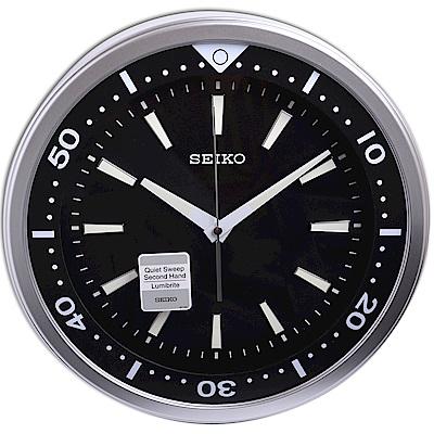 SEIKO 精工 精湛工藝 黑水鬼 夜光 滑動式秒針 靜音掛鐘(QXA723A)-35cm