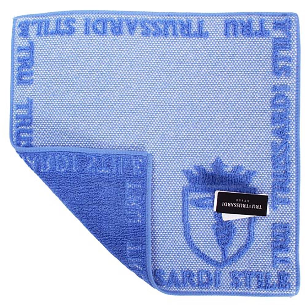 TRUSSARDI 立體獵狗徽章棉質方巾(藍)