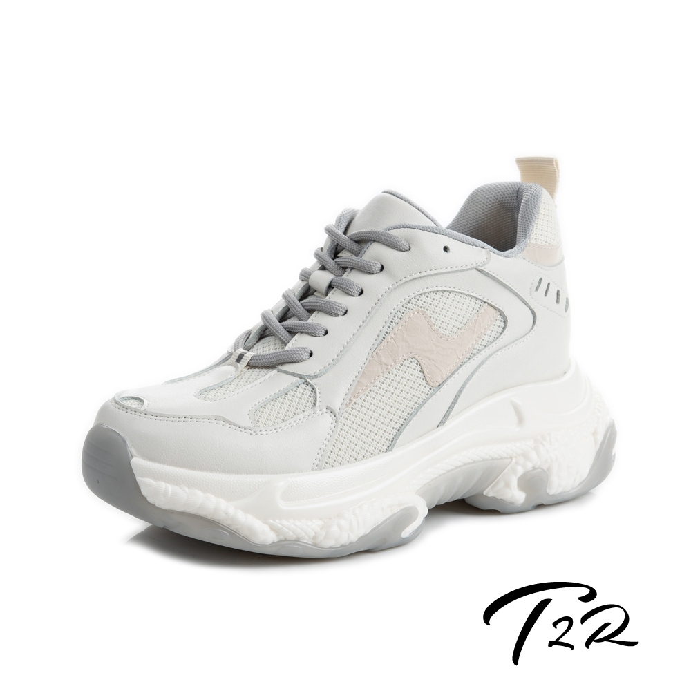T2R-正韓空運-真皮網布拼接厚底防滑老爹鞋-增高8公分-米灰