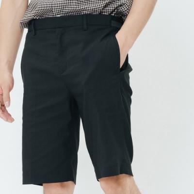 H:CONNECT 韓國品牌 男裝-側鬆緊修身西裝短褲-黑