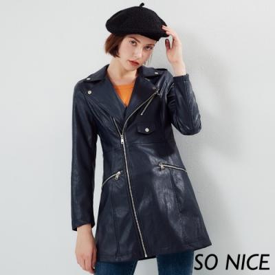 SO NICE時尚俐落長版騎士外套